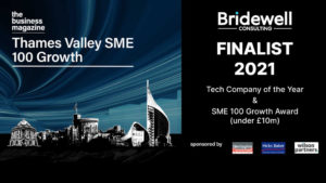 Bridewell Consulting have been selected as finalists for TWO categories at the upcoming 2021 'Thames Valley SME 100 Growth' awards.